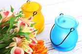 Bright icon-lamps with flowers — Foto de Stock