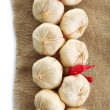 Vintage garlic  and pepper decoration, on sackcloth — Stock Photo #48713081