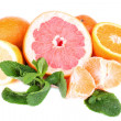 Fresh citrus fruits with green leaves — Stock Photo #48714373