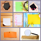 Collage of different kind of paper — Stockfoto