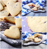 Lavender cookies collage — Stock Photo
