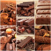 Collage of chocolate bars — Stock Photo