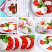 Collage of cheese mozzarella with tomatoes — Stock Photo