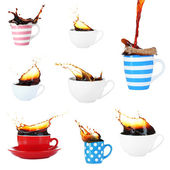 Collage of cups of coffee with splashes — Stock Photo