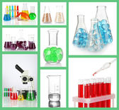 Collage of different laboratory glassware — Stockfoto