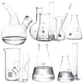 Collage of different laboratory glassware — Stock Photo