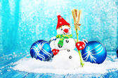 Beautiful snowman and Christmas decor — Stock Photo