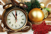 Alarm clock with Christmas decoration — Stok fotoğraf