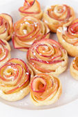 Tasty puff pastry with apple shaped roses — Stock Photo