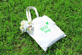 Eco bag on green grass — Stock Photo
