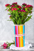 Beautiful flowers in colorful pencils vase — Foto Stock