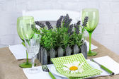 Trendy table setting in restaurant — Stock Photo