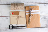 Natural style handcrafted gift box — 图库照片