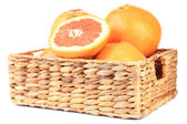 Ripe grapefruits in wicker basket isolated on white — Stok fotoğraf