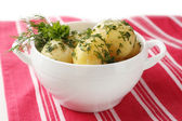 Young boiled potatoes in bowl, close up — Stock Photo