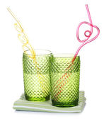 Colorful glasses with cocktail straw — Стоковое фото