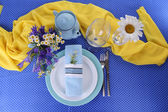 Blue table setting close-up — Stock Photo