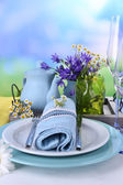 Blue table setting close-up — Stockfoto