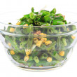 Salad with green beans, ham and corn in glass bowl, isolated on white — Stock Photo #48741137