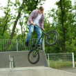 Young boy jumping with his BMX Bike at skate park — Stock Photo #48741471