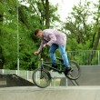 Young boy jumping with his BMX Bike at skate park — Stock Photo #48741473