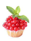 Tasty muffin with red currant isolated on white — Stockfoto