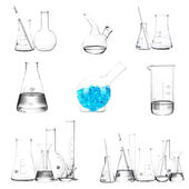Collage of different laboratory glassware isolated on white — Foto Stock