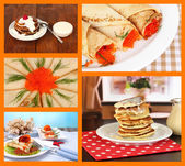 Delicious pancakes collage — Foto Stock
