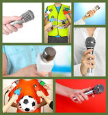 Collage of hands with microphone — Stok fotoğraf