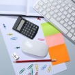 Office table with stationery accessories, keyboard and paper — Stock Photo #48899065