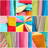 Colorful fabrics collage — Stock Photo