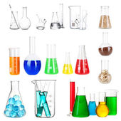 Collage of different laboratory glassware — Foto Stock