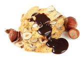 Biscotti with  nuts, isolated on white  — Stok fotoğraf