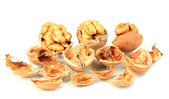 Broken walnuts isolated on white — Stok fotoğraf