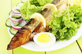 Smoked fish on plate close up — Stock Photo
