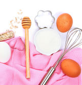 Basic baking ingredients and kitchen tools — Stock Photo