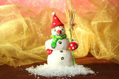 Beautiful snowman and Christmas decor, on bright background — Foto de Stock