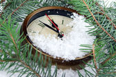 Clock and fir branches under snow — Stock Photo