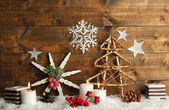 Christmas composition with snowflakes — Stock Photo