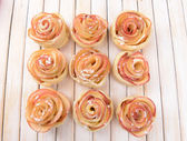 Tasty puff pastry with apple shaped roses — Стоковое фото