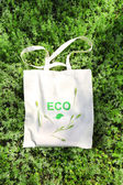 Eco bag on green grass — Stock Photo