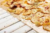 Homemade potato chips close up — Stock Photo