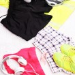 Sport clothes, shoes and headphones on white carpet background. — Stock Photo #48903193