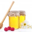 Jar full of delicious fresh honey and wild flowers, isolated on white — Stock Photo #48904993