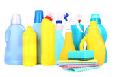 Cleaning products isolated on white — Stock Photo