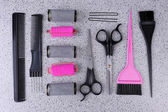 Professional hairdresser tools  on gray background — Zdjęcie stockowe