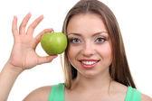 Beautiful girl with green apple — Stock Photo