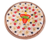 Sweet pizza with fruits — Stock Photo