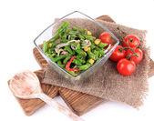 Salad with green beans, ham and  corn in glass bowl, on wooden board, isolated on white — Stock Photo