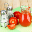Tomato juice in glass jug — Stock Photo #49095865